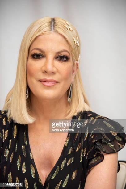 Tori Spelling at the BH90210 Press Conference at the Four Seasons Hotel on August 08 2019 in Beverly Hills California