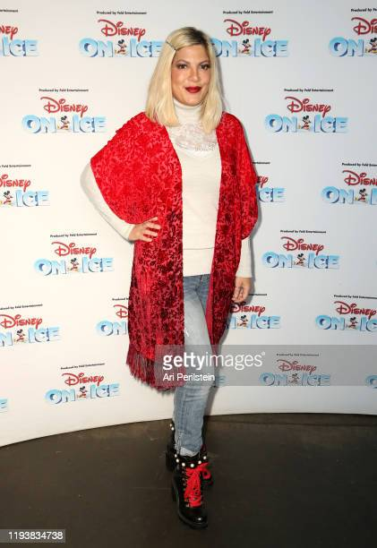 Tori Spelling attends Disney On Ice Presents Mickey's Search Party Holiday Celebrity Skating Event at Staples Center on December 13, 2019 in Los...