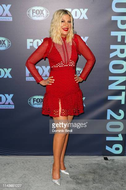 Tori Spelling attends the 2019 FOX Upfront at Wollman Rink, Central Park on May 13, 2019 in New York City.