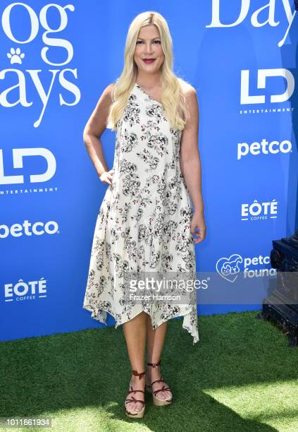 Tori Spelling attends the Premiere of LD Entertainment's Dog Days at Westfield Century City on August 5 2018 in Century City California