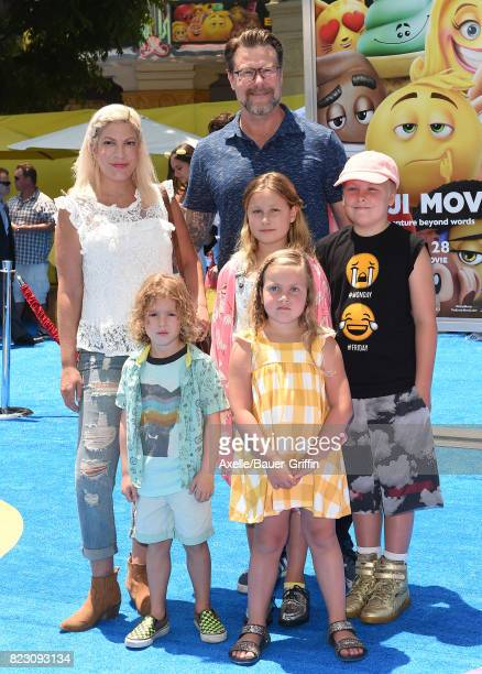 Tori Spelling Dean McDermott and children Finn McDermott Liam McDermott Stella McDermott and Hattie McDermott arrive at the premiere of 'The Emoji...