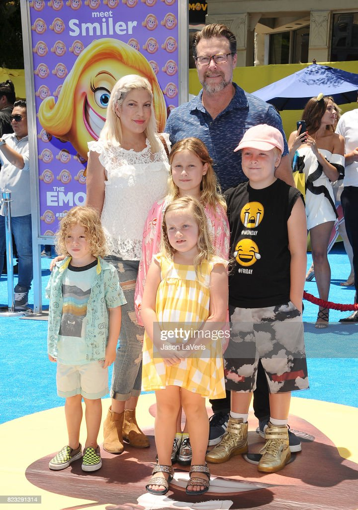 Tori Spelling, Dean McDermott and children Finn McDermott, Liam McDermott, Stella McDermott and Hattie McDermott attend the premiere of 'The Emoji Movie' at Regency Village Theatre on July 23, 2017 in Westwood, California.