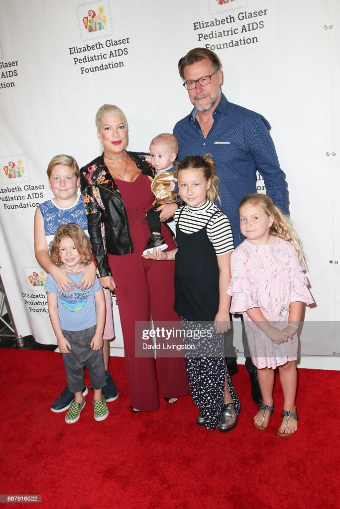 Tori Spelling, Dean McDermott and family attend the Elizabeth Glaser Pediatric AIDS Foundation's 28th Annual 'A Time For Heroes' Family Festival at Smashbox Studios on October 29, 2017 in Culver City, California.