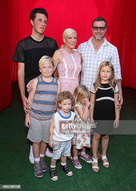 Tori Spelling Dean McDermott and family attend the premiere of 20th Century Fox's The Peanuts Movie at Regency Village Theatre on November 1 2015 in...
