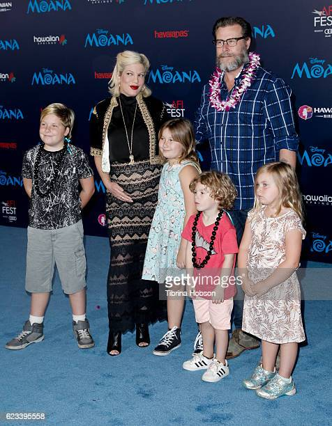 Tori Spelling Dean McDermott and their children attend the premiere of Disney's 'Moana' at AFI FEST 2016 at the El Capitan Theatre on November 14...