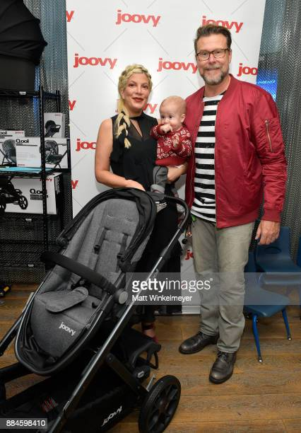 Tori Spelling Dean McDermott and their son at the 7th Annual Santa's Secret Workshop benefiting LA Family Housing at Andaz on December 2 2017 in West...