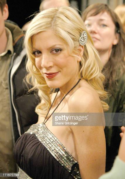 Tori Spelling during Olympus Fashion Week Fall 2005 Heatherette Backstage and Runway at Bryant Park The Tent in New York City New York United States