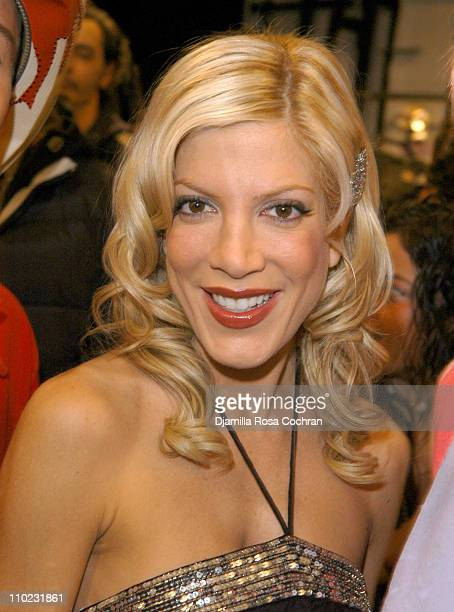 Tori Spelling during Olympus Fashion Week Fall 2005 Heatherette Backstage at The Atelier Bryant Park in New York City New York United States