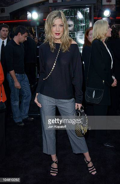 Tori Spelling during The Matrix Reloaded Premiere Arrivals at The Mann Village Theater in Westwood California United States
