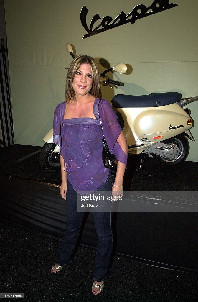 Tori Spelling during Vespa Scooter Party in Hollywood, California.