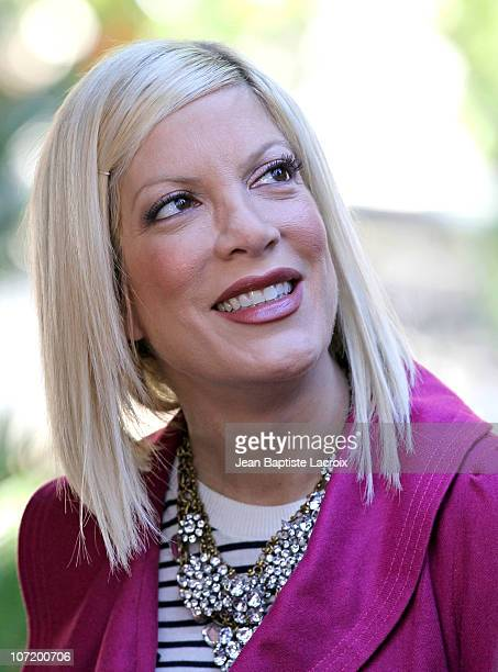 Tori Spelling is seen at The Grove on November 29 2010 in Los Angeles California
