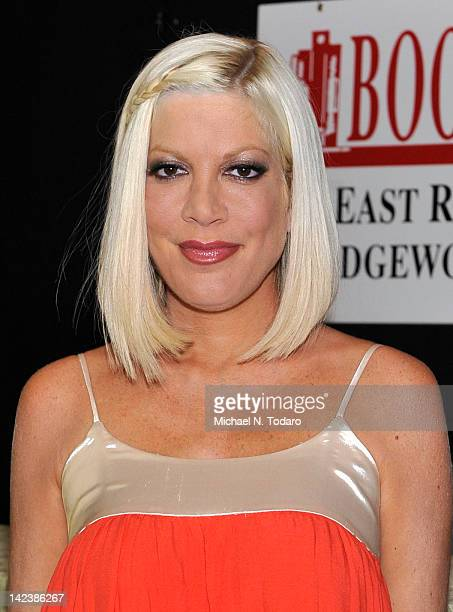 """Tori Spelling promotes the new book """"CelebraTori"""" at Bookends Bookstore on April 3, 2012 in Ridgewood, New Jersey."""