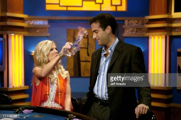 Tori Spelling throws water on Host of Celebrity Blackjack Matt Vasgersian during Celebrity Blackjack Matt Vasgersian hosts Celebrity Blackjack a one...