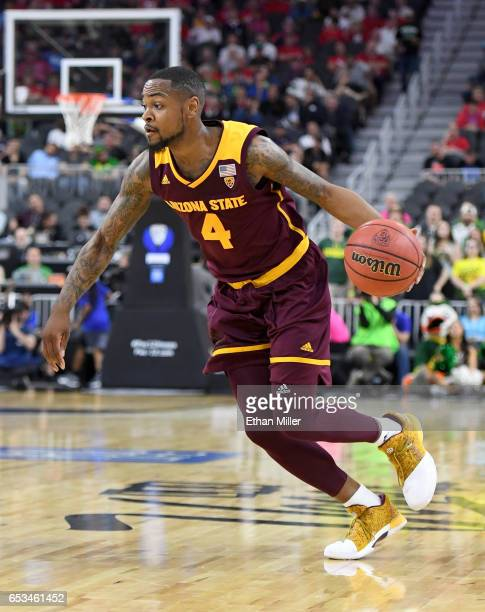 Torian Graham of the Arizona State Sun Devils drives against the Oregon Ducks during a quarterfinal game of the Pac12 Basketball Tournament at...