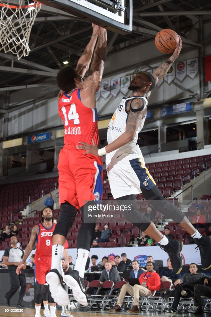 Torian Graham #4 of the Salt Lake City Stars shoots the ball during the game against the Delaware 87ers at the NBA G League Showcase Game 12 on January 11, 2018 at the Hershey Centre in Mississauga, Ontario Canada.
