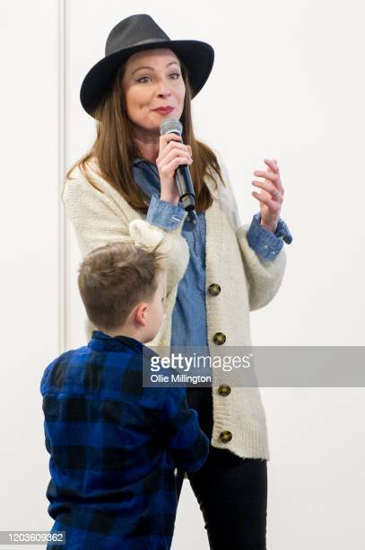 Torie Campbell with her son talking about Veganism during Plant Powered Expo 2020 at Olympia London on February 2 2020 in London England