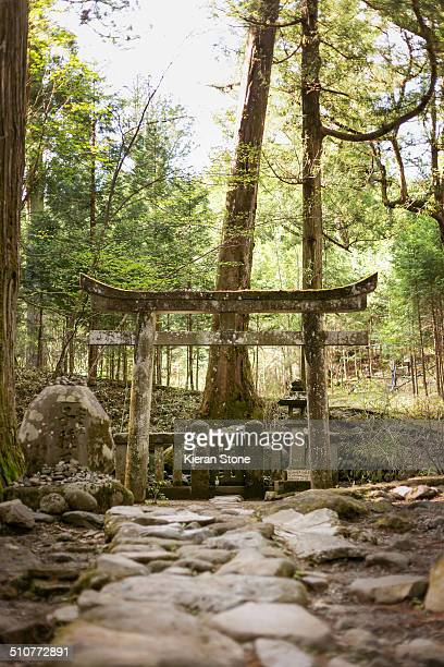 Torii gate in front of a sacred stone in Japanese culture