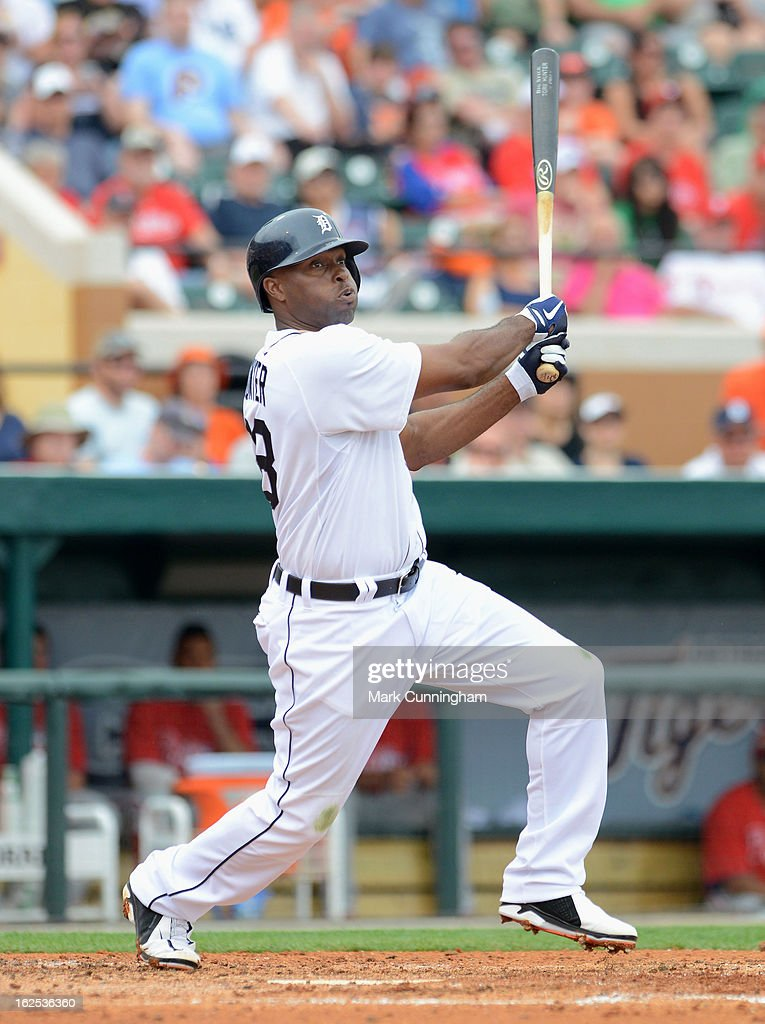 Torii Hunter #48 of the Detroit Tigers bats against the Philadelphia Phillies during the spring training game at Joker Marchant Stadium on February 24, 2013 in Lakeland, Florida. The game ended in a 10 inning 5-5 tie.