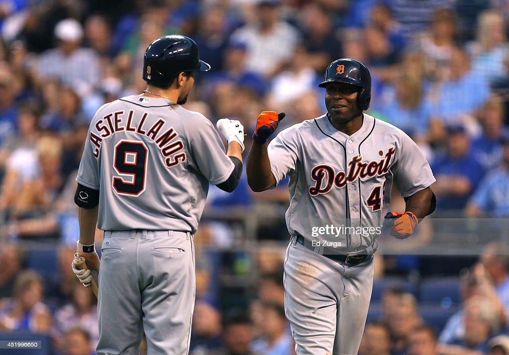 Torii Hunter #48 of the Detroit Tigers celebrates his home run with Nick Castellanos #9 in the fifth inning during a game against the Kansas City Royals at Kauffman Stadium on July 10, 2014 at Kauffman Stadium in Kansas City, Missouri.