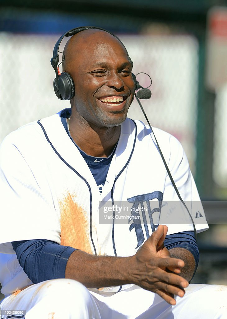 Torii Hunter #48 of the Detroit Tigers looks on and smiles while giving an interview during the spring training game against the Houston Astros at Joker Marchant Stadium on March 4, 2013 in Lakeland, Florida. The Tigers defeated the Astros 8-5.