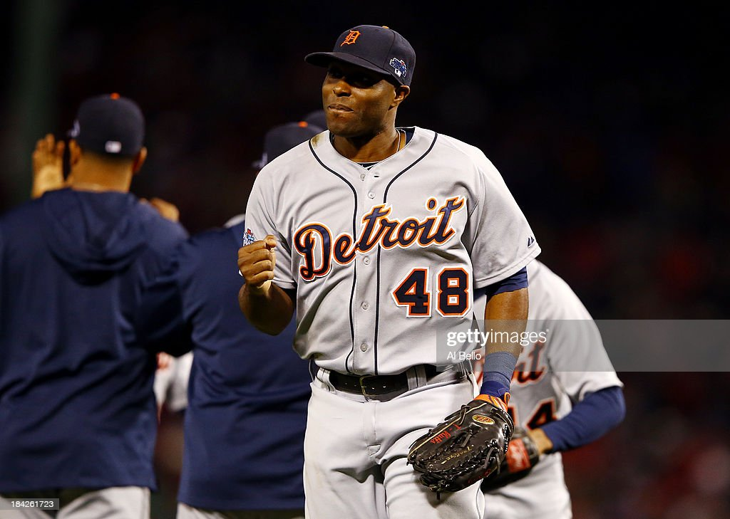 Torii Hunter #48 of the Detroit Tigers reacts after defeating the Boston Red Sox 1-0 in Game One of the American League Championship Series at Fenway Park on October 12, 2013 in Boston, Massachusetts.