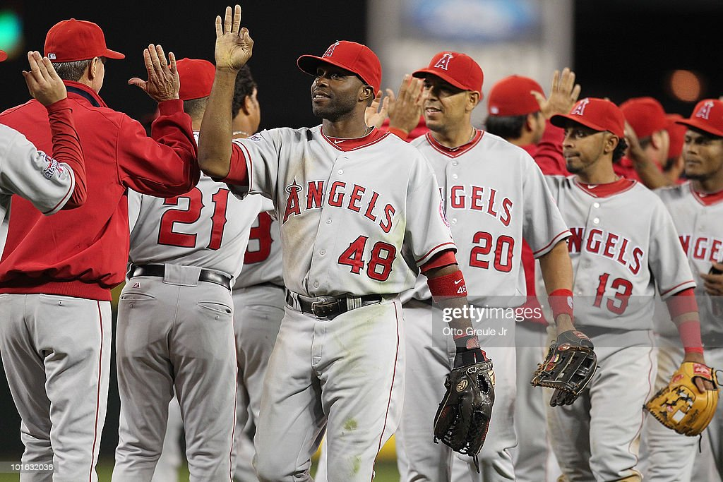 Torii Hunter #48 of the Los Angeles Angels of Anaheim celebrates with teammates after defeating the Seattle Mariners 7-1 at Safeco Field on June 4, 2010 in Seattle, Washington.