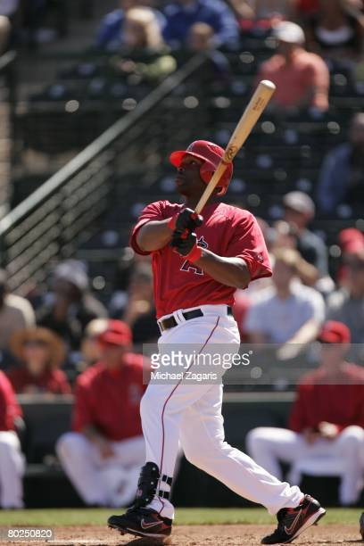 Torii Hunter of the Los Angeles Angels of Anaheim hits during the MLB game against the Oakland Athletics at Tempe Diablo Stadium on March 3 2008 in...