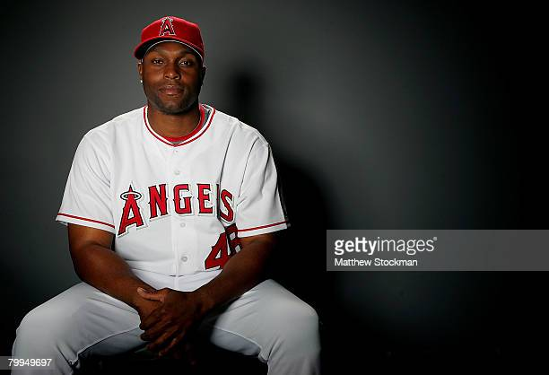 Torii Hunter of the Los Angeles Angels of Anaheim poses for a portrait during photo day at Tempe Diablo Stadium February 22 2008 in Tempe Arizona