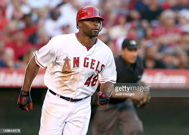 Torii Hunter of the Los Angeles Angels of Anaheim runs to first base against the Tampa Bay Rays at Angel Stadium of Anaheim on July 28 2012 in...