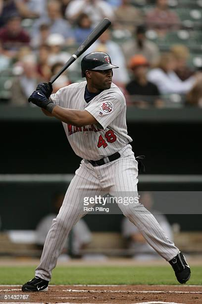 Torii Hunter of the Minnesota Twins bats during the game against the Baltimore Orioles at Oriole Park at Camden Yards on September 6 2004 in...