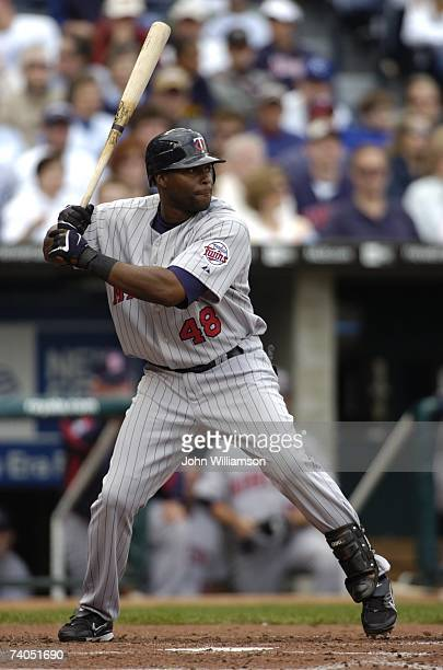 Torii Hunter of the Minnesota Twins bats during the game against the Kansas City Royals at Kauffman Stadium in Kansas City Missouri on April 22 2007...