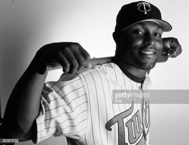 Torii Hunter of the Minnesota Twins poses during the Minnesota Twins Portrait Day February 28 2005 at Hammond Stadium in Ft Myers Florida