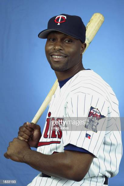 Torii Hunter of the Minnesota Twins poses for a portrait during theTwins' spring training Media Day on February 24 2003 at Ed Smith Stadium in...