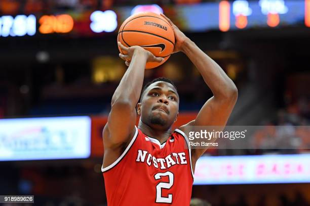 Torin Dorn of the North Carolina State Wolfpack shoots a free throw against the Syracuse Orange during the second half at the Carrier Dome on...