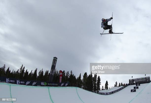 Torin YaterWallace competes in the Superpipe qualification during Day 1 of the Dew Tour on December 13 2017 in Breckenridge Colorado
