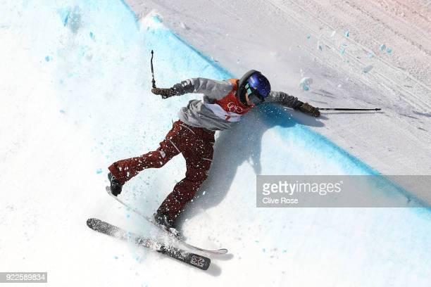 Torin YaterWallace of the United States crashes on his second run during the Freestyle Skiing Men's Ski Halfpipe Final on day thirteen of the...