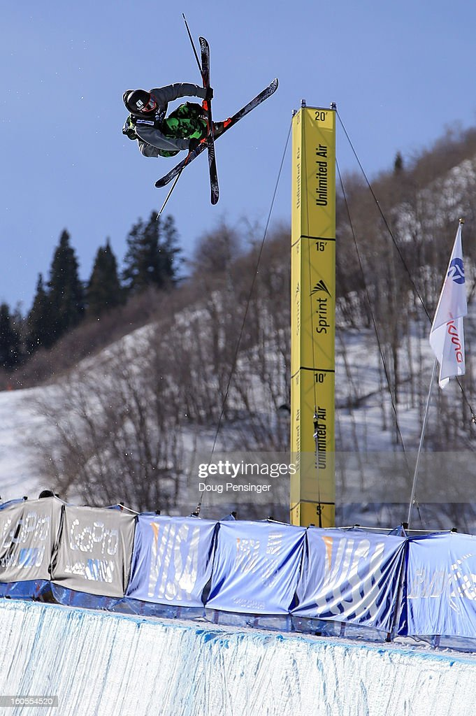 Torin Yater-Wallace of the USA flies above the halfpipe en route to finishing second in the men's FIS Freestyle Ski Halfpipe World Cup during the Sprint U.S. Grand Prix at Park City Mountain on February 2, 2013 in Park City, Utah.