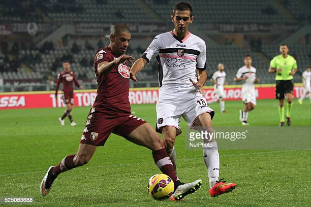 Torino defender Bruno Peres fight for the ball against Palermo midfielder Ivajlo Cocev during the Serie A football match n14 TORINO PALERMO on...