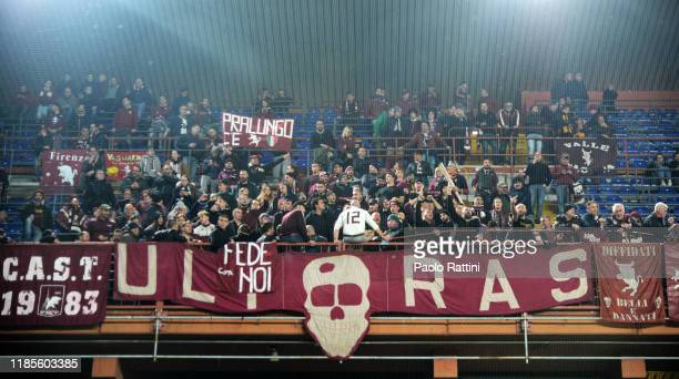 Torino FC fans cheer their team during the Serie A match between Genoa CFC and Torino FC at Stadio Luigi Ferraris on November 30 2019 in Genoa Italy