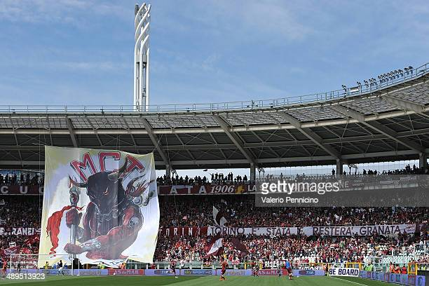 Torino FC fans display a giant banner prior to the Serie A match between Torino FC and Parma FC at Stadio Olimpico di Torino on May 11 2014 in Turin...