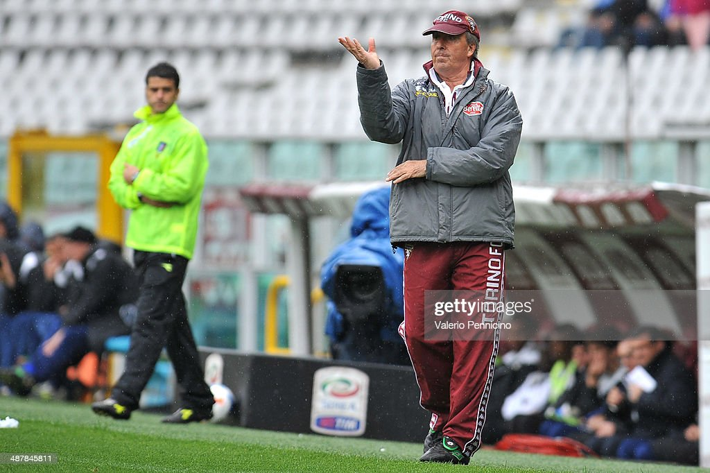 Torino FC head coach Giampiero Ventura issues instructions during the Serie A match between Torino FC and Udinese Calcio at Stadio Olimpico di Torino on April 27, 2014 in Turin, Italy.