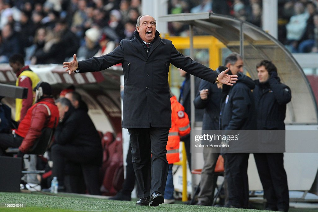 Torino FC head coach Giampiero Ventura reacts during the Serie A match between Torino FC and AC Milan at Stadio Olimpico di Torino on December 9, 2012 in Turin, Italy.