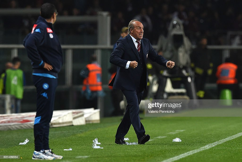 Torino FC head coach Giampiero Ventura reacts during the Serie A match between Torino FC and SSC Napoli at Stadio Olimpico di Torino on May 8, 2016 in Turin, Italy.