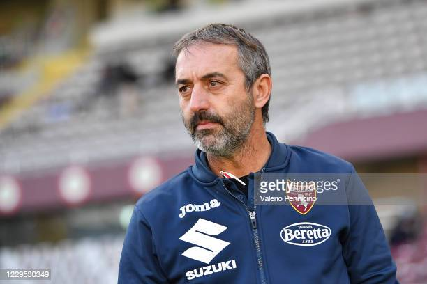 Torino FC head coach Marco Giampaolo looks on during the Serie A match between Torino FC and FC Crotone at Stadio Olimpico di Torino on November 8,...