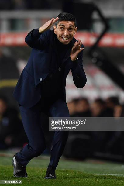 Torino FC head coach Moreno Longo gestures during the Serie A match between Torino FC and UC Sampdoria at Stadio Olimpico di Torino on February 8...