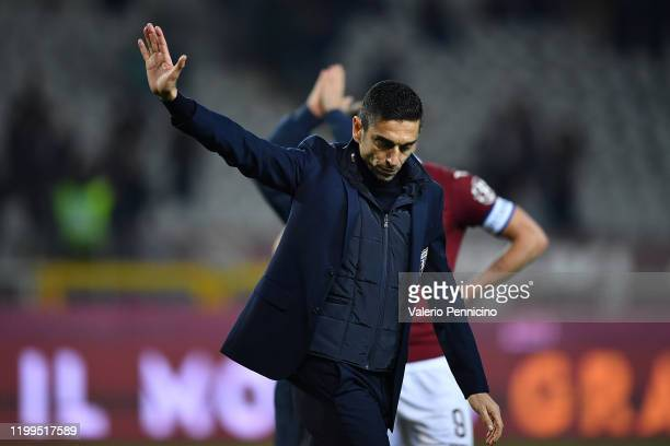 Torino FC head coach Moreno Longo shows his dejection at the end of the Serie A match between Torino FC and UC Sampdoria at Stadio Olimpico di Torino...