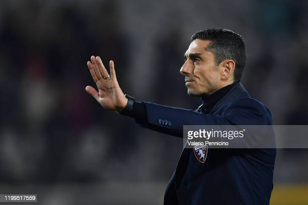 Torino FC head coach Moreno Longo waves the fans at the end of the Serie A match between Torino FC and UC Sampdoria at Stadio Olimpico di Torino on...
