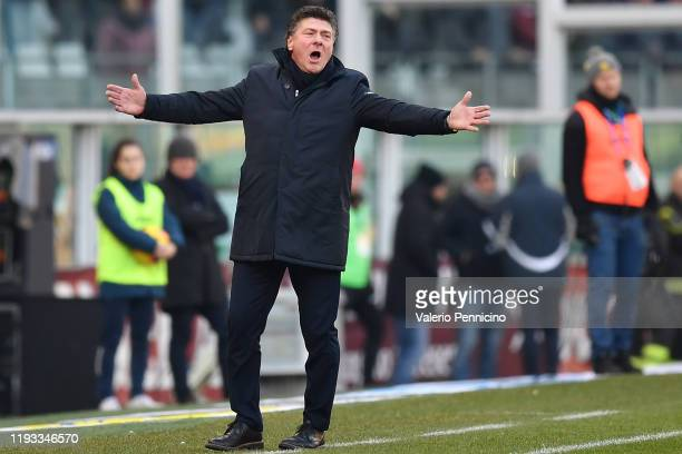 Torino FC head coach Walter Mazzari reacts during the Serie A match between Torino FC and Bologna FC at Stadio Olimpico di Torino on January 12 2020...