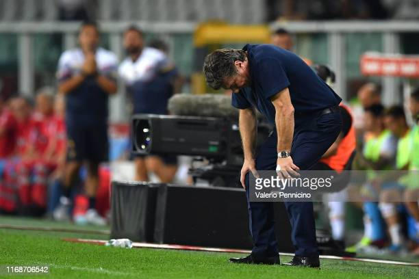 Torino FC head coach Walter Mazzari shows his dejection during the Serie A match between Torino FC and US Lecce at Stadio Olimpico di Torino on...