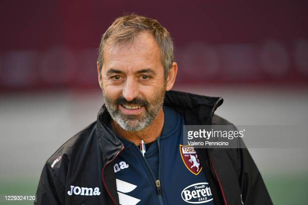 Torino FC ihead coach Marco Giampaolo looks on during the Coppa Italia match between Torino FC and US Lecce at Stadio Olimpico Grande Torino on...